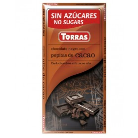 Dark Chocolate With Cocoa Beans Sugar And Gluten Free (75g) Torras